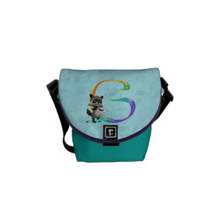 Cute Nerd Raccoon Monogram G Courier Bag