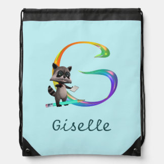 Cute Nerd Raccoon Monogram G Drawstring Bag