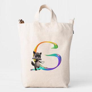 Cute Nerd Raccoon Monogram G Duck Bag