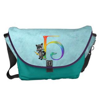 Cute Nerd Raccoon Monogram H Courier Bag