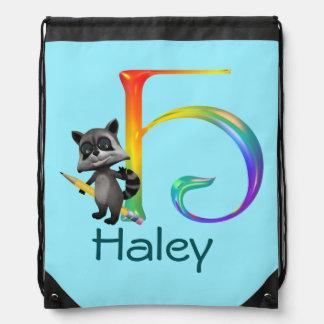 Cute Nerd Raccoon Monogram H Drawstring Bag