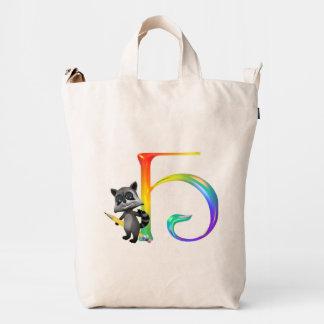 Cute Nerd Raccoon Monogram H Duck Bag