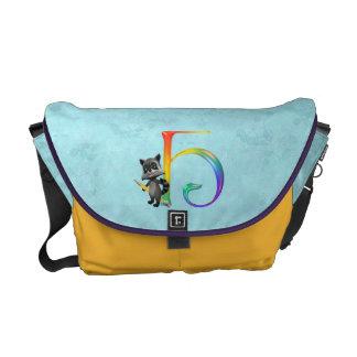 Cute Nerd Raccoon Monogram H Messenger Bag