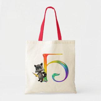 Cute Nerd Raccoon Monogram H Tote Bag