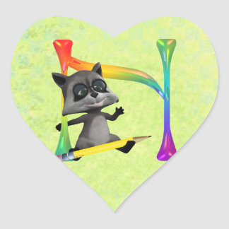 Cute Nerd Raccoon Monogram N Heart Sticker