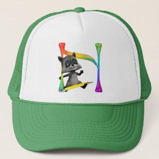 Cute Nerd Raccoon Monogram N Trucker Hat