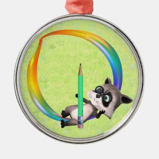 Cute Nerd Raccoon Monogram O Metal Ornament