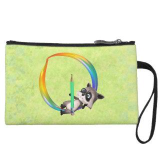 Cute Nerd Raccoon Monogram O Wristlet