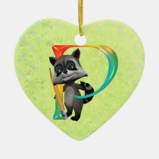 Cute Nerd Raccoon Monogram P Ceramic Ornament