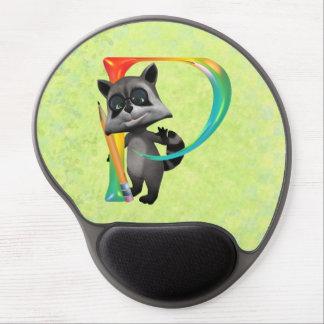 Cute Nerd Raccoon Monogram P Gel Mouse Pad