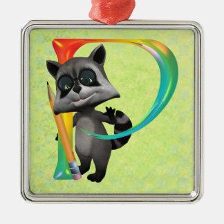 Cute Nerd Raccoon Monogram P Metal Ornament