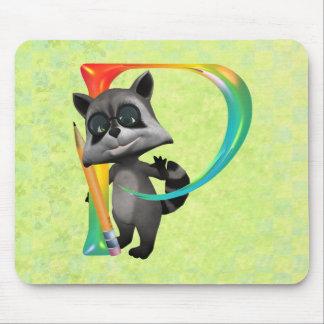 Cute Nerd Raccoon Monogram P Mouse Pad