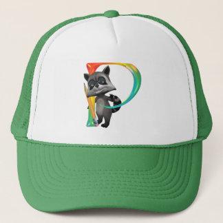Cute Nerd Raccoon Monogram P Trucker Hat