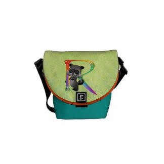 Cute Nerd Raccoon Monogram R Courier Bag