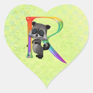 Cute Nerd Raccoon Monogram R Heart Sticker