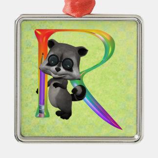 Cute Nerd Raccoon Monogram R Metal Ornament