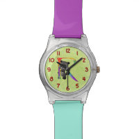 Cute Nerd Raccoon Monogram R Wrist Watch