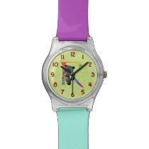 Cute Nerd Raccoon Monogram R Wrist Watch