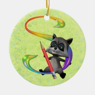 Cute Nerd Raccoon Monogram S Ceramic Ornament