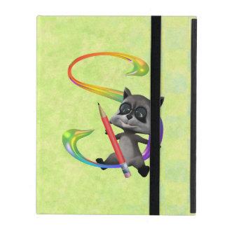 Cute Nerd Raccoon Monogram S iPad Folio Case