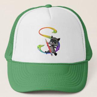 Cute Nerd Raccoon Monogram S Trucker Hat