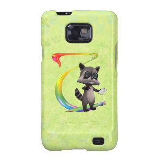 Cute Nerd Raccoon Monogram T Galaxy S2 Covers