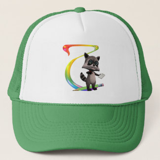 Cute Nerd Raccoon Monogram T Trucker Hat