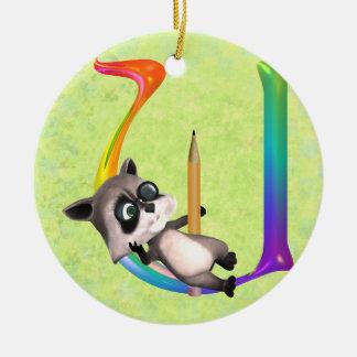 Cute Nerd Raccoon Monogram U Ceramic Ornament