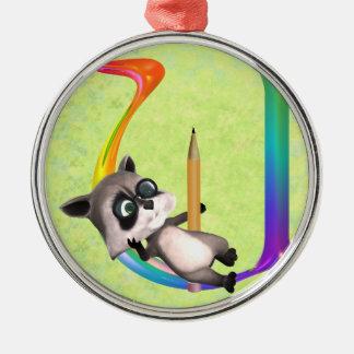 Cute Nerd Raccoon Monogram U Metal Ornament