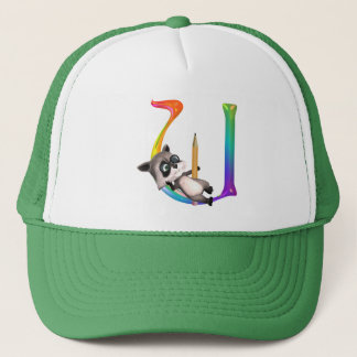 Cute Nerd Raccoon Monogram U Trucker Hat