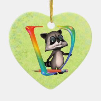 Cute Nerd Raccoon Monogram V Ceramic Ornament