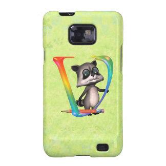 Cute Nerd Raccoon Monogram V Galaxy SII Cover