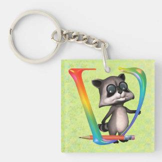 Cute Nerd Raccoon Monogram V Keychain