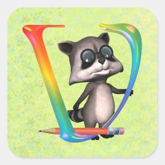 Cute Nerd Raccoon Monogram V Square Sticker