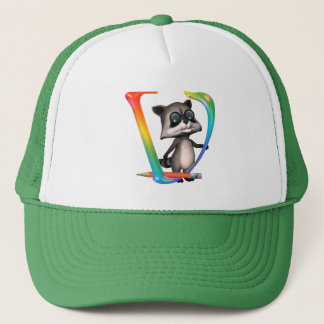 Cute Nerd Raccoon Monogram V Trucker Hat