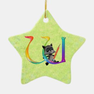 Cute Nerd Raccoon Monogram W Ceramic Ornament