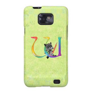 Cute Nerd Raccoon Monogram W Galaxy S2 Case