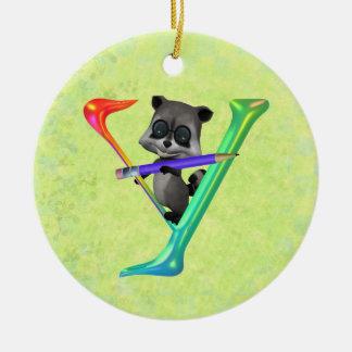 Cute Nerd Raccoon Monogram Y Ceramic Ornament