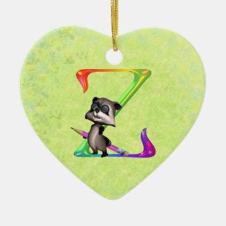 Cute Nerd Raccoon Monogram Z Ceramic Ornament