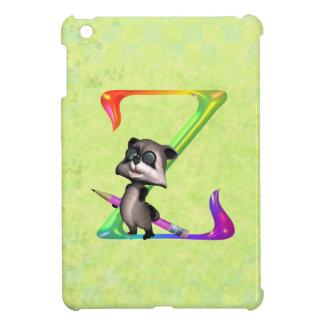 Cute Nerd Raccoon Monogram Z iPad Mini Covers