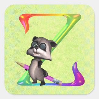 Cute Nerd Raccoon Monogram Z Square Sticker