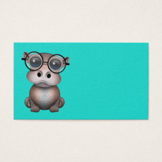 Cute Nerdy Baby Hippo Wearing Glasses Business Card