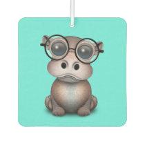Cute Nerdy Baby Hippo Wearing Glasses Car Air Freshener
