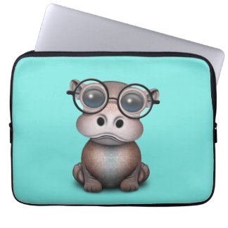Cute Nerdy Baby Hippo Wearing Glasses Computer Sleeve
