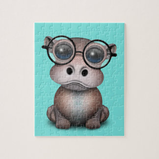 Cute Nerdy Baby Hippo Wearing Glasses Jigsaw Puzzle