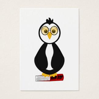 Cute Nerdy Bookworm Penguin Business Card
