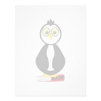Cute Nerdy Bookworm Penguin Letterhead Template