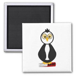 Cute Nerdy Bookworm Penguin 2 Inch Square Magnet