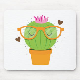 cute nerdy cactus mouse pad