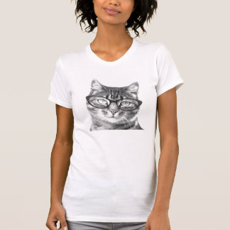 Cute nerdy cat with glasses t shirt for women